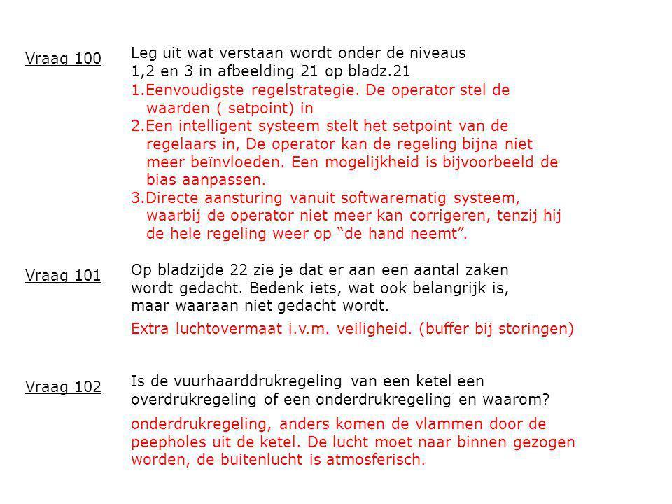 Leg uit wat verstaan wordt onder de niveaus 1,2 en 3 in afbeelding 21 op bladz.21 Vraag 100 1.Eenvoudigste regelstrategie. De operator stel de waarden