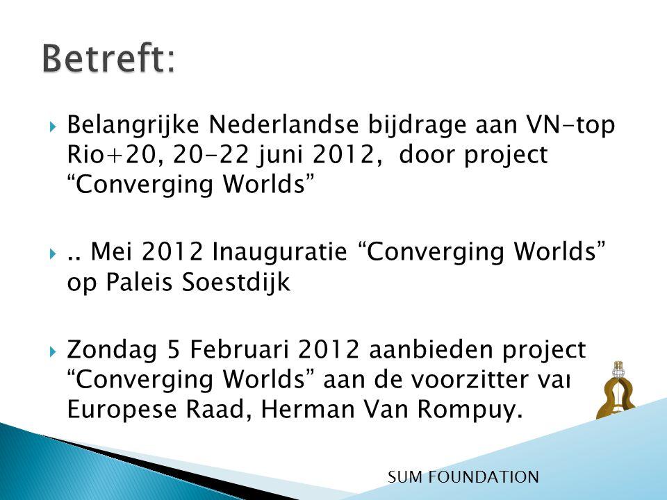  Belangrijke Nederlandse bijdrage aan VN-top Rio+20, 20-22 juni 2012, door project Converging Worlds ..