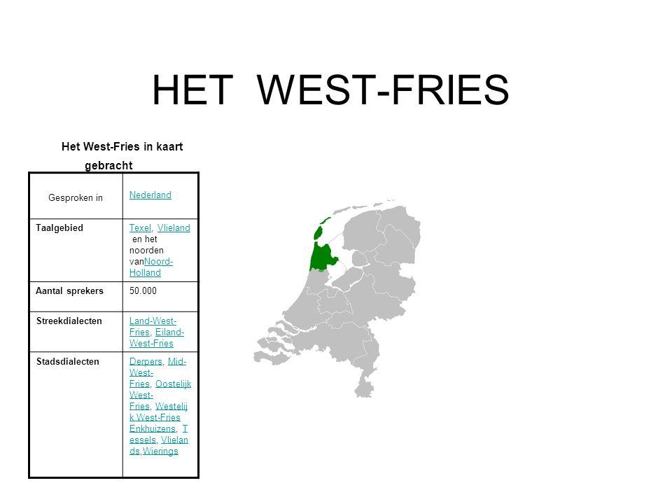 HET WEST-FRIES Het West-Fries in kaart gebracht Gesproken in Nederland TaalgebiedTexelTexel, Vlieland en het noorden vanNoord- HollandVlielandNoord- H