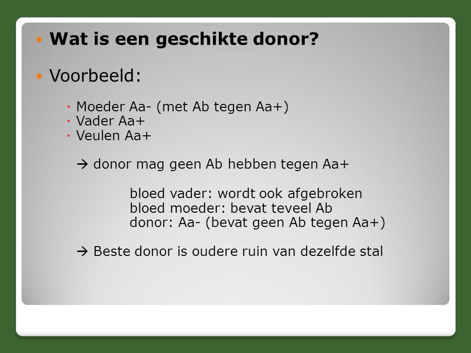 Wat is een geschikte donor? Voorbeeld:  Moeder Aa- (met Ab tegen Aa+)  Vader Aa+  Veulen Aa+  donor mag geen Ab hebben tegen Aa+ bloed vader: word