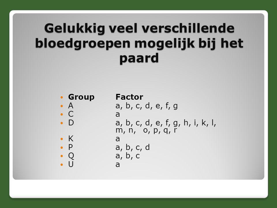 Gelukkig veel verschillende bloedgroepen mogelijk bij het paard GroupFactor Aa, b, c, d, e, f, g Ca Da, b, c, d, e, f, g, h, i, k, l, m, n, o, p, q, r