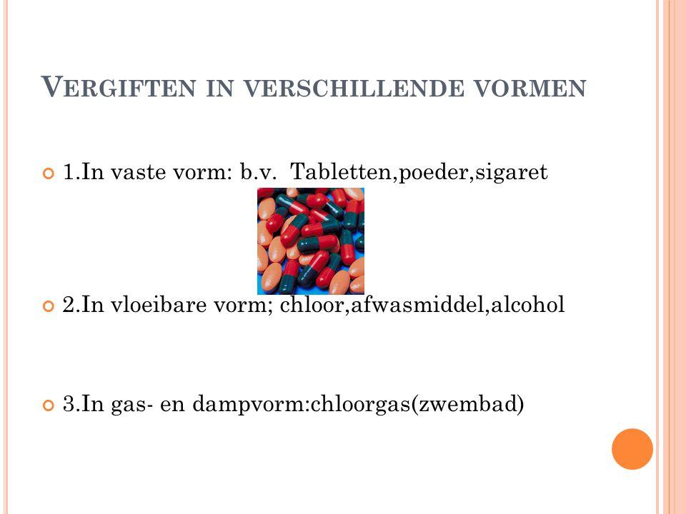 V ERGIFTEN IN VERSCHILLENDE VORMEN 1.In vaste vorm: b.v. Tabletten,poeder,sigaret 2.In vloeibare vorm; chloor,afwasmiddel,alcohol 3.In gas- en dampvor