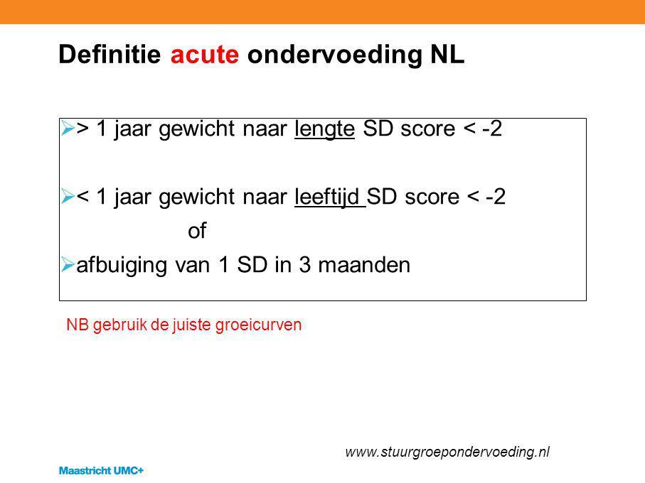 Definitie acute ondervoeding NL  > 1 jaar gewicht naar lengte SD score < -2  < 1 jaar gewicht naar leeftijd SD score < -2 of  afbuiging van 1 SD in