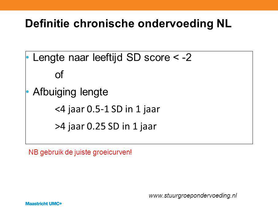 Definitie chronische ondervoeding NL Lengte naar leeftijd SD score < -2 of Afbuiging lengte <4 jaar 0.5-1 SD in 1 jaar >4 jaar 0.25 SD in 1 jaar www.s