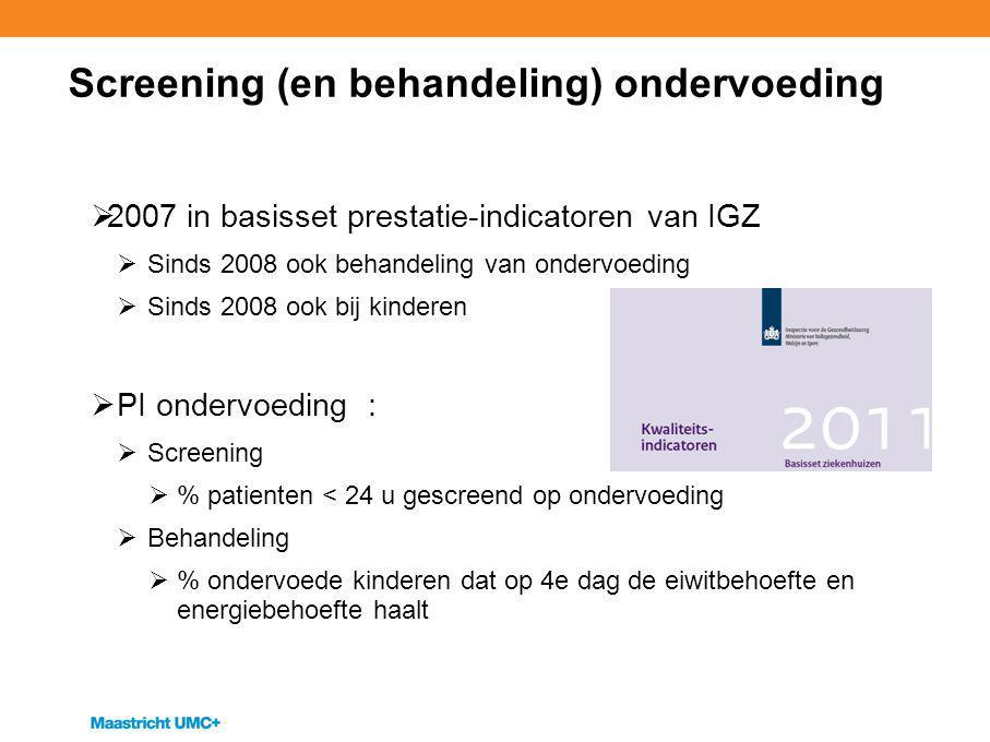Screening (en behandeling) ondervoeding  2007 in basisset prestatie-indicatoren van IGZ  Sinds 2008 ook behandeling van ondervoeding  Sinds 2008 oo
