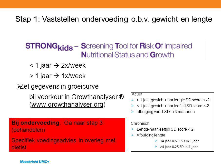  Meet lengte en gewicht bij opname  Daarna < 1 jaar  2x/week > 1 jaar  1x/week  Zet gegevens in groeicurve bij voorkeur in Growthanalyser ® (www.
