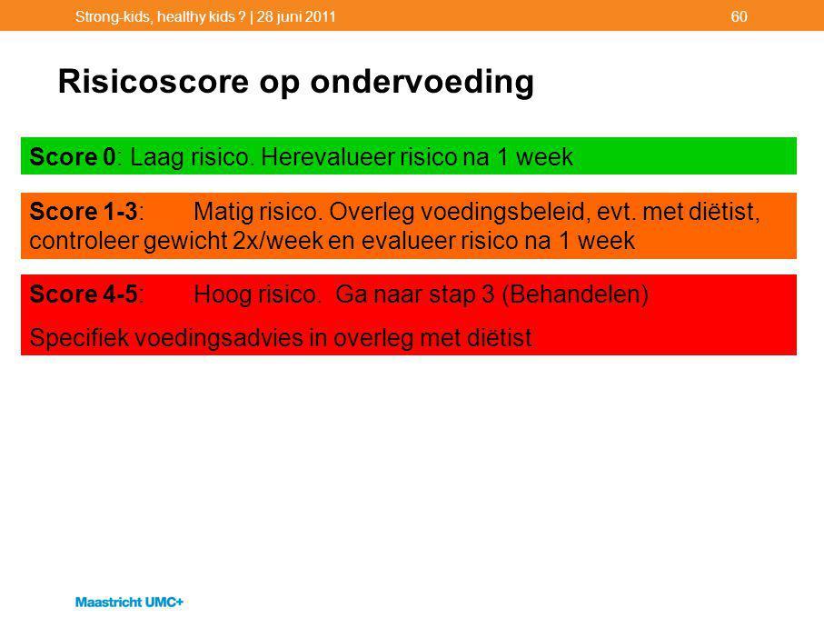 Strong-kids, healthy kids ? | 28 juni 201160 Risicoscore op ondervoeding Score 4-5: Hoog risico. Ga naar stap 3 (Behandelen) Specifiek voedingsadvies