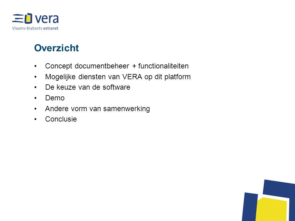 Overzicht Concept documentbeheer + functionaliteiten Mogelijke diensten van VERA op dit platform De keuze van de software Demo Andere vorm van samenwe
