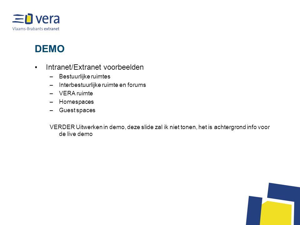 Andere vorm van samenwerking Situatie : teveel klant – leverancier verhouding VERA is overheid (zoals Belnet) – een betalende maar gesubsidieerde dienst – natuurlijke partner voor zijn doelgroep Op zoek naar een vorm waar iedereen baat bij heeft: overheid, specifieke vorm intergemeentelijke samenwerking,… Vergelijk interbestuurlijke samenwerking Verdere profilering als intermediair bestuur –Uw relatie met Vlaanderen, Federaal België: via VERA Verdere profilering als bovenlokaal initiatief: –Vb.