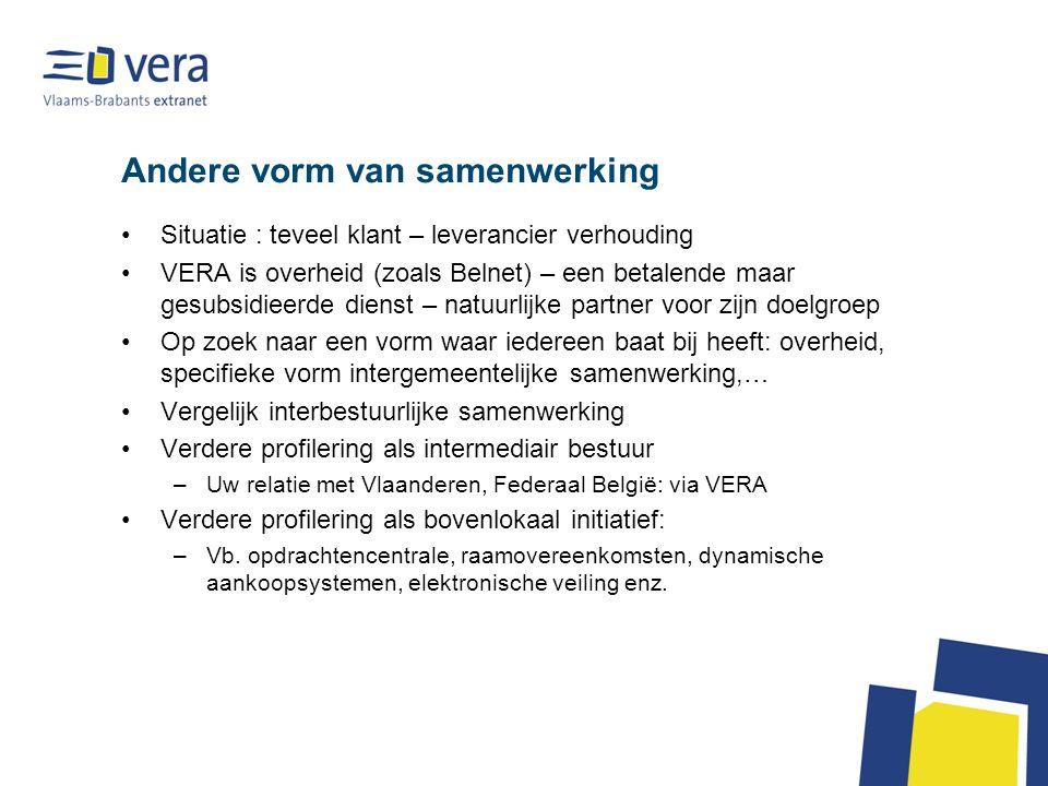 Andere vorm van samenwerking Situatie : teveel klant – leverancier verhouding VERA is overheid (zoals Belnet) – een betalende maar gesubsidieerde dien