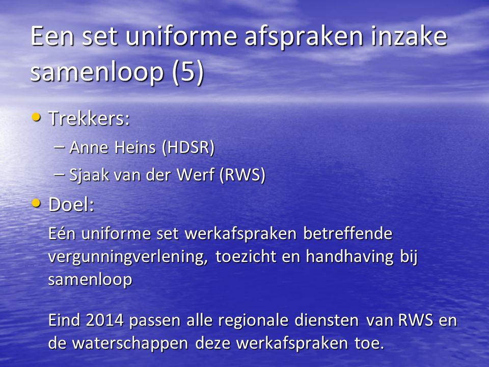 Een set uniforme afspraken inzake samenloop (5) Trekkers: Trekkers: – Anne Heins (HDSR) – Sjaak van der Werf (RWS) Doel: Doel: Eén uniforme set werkafspraken betreffende vergunningverlening, toezicht en handhaving bij samenloop Eind 2014 passen alle regionale diensten van RWS en de waterschappen deze werkafspraken toe.