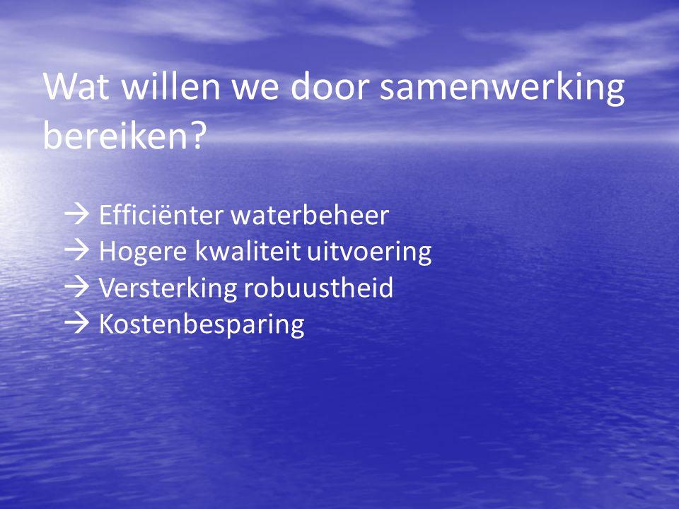 ICT, invoering PowerBrowser (7) Trekkers: Trekkers: – Izakjan Dekker (WSHD) – Pieter Luijendijk (RWS) Doel: Doel: December 2014 werken RWS en minimaal vier waterschappen met hetzelfde ICT systeem Een gezamenljke beheerorganisatie is operationeel