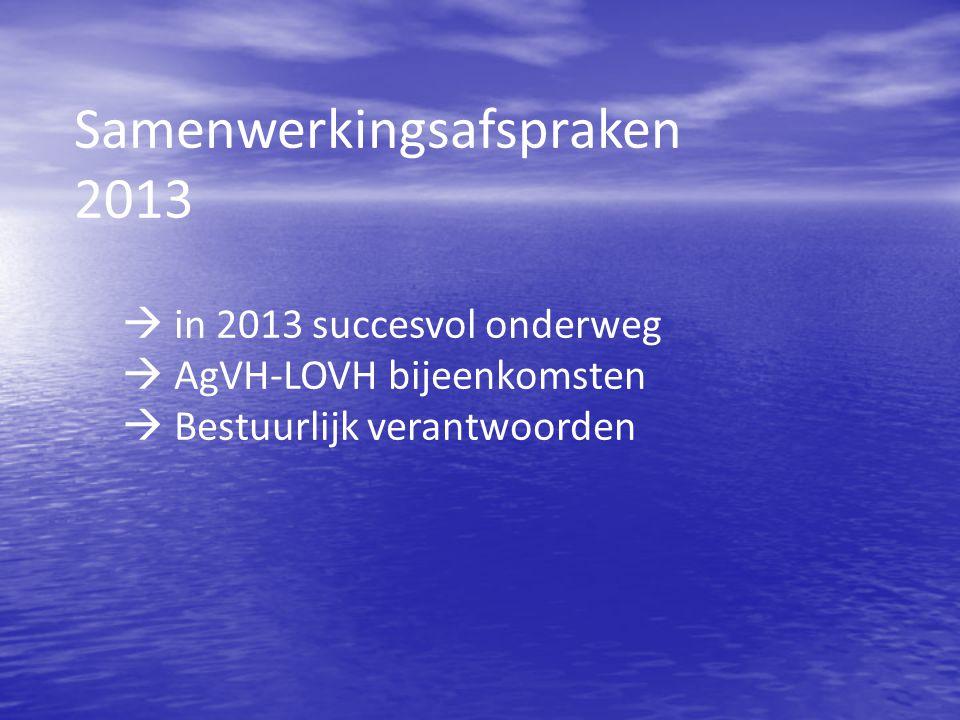 Samenwerkingsafspraken 2013  in 2013 succesvol onderweg  AgVH-LOVH bijeenkomsten  Bestuurlijk verantwoorden