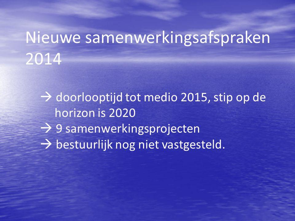 Nieuwe samenwerkingsafspraken 2014  doorlooptijd tot medio 2015, stip op de horizon is 2020  9 samenwerkingsprojecten  bestuurlijk nog niet vastgesteld.