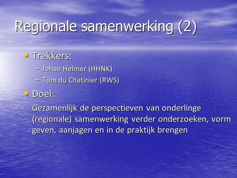 BRZO (3) Trekkers: Trekkers: – Piet Schakel (WSRL) – Pieter Jacobs (RWS) Doel: Doel: Eind 2014 hebben waterschappen en Rijkswaterstaat één gezamenlijk BRZO-team, dat gesteld staat om het Wabo bevoegd gezag (BRZO-RUD's) van advies te dienen