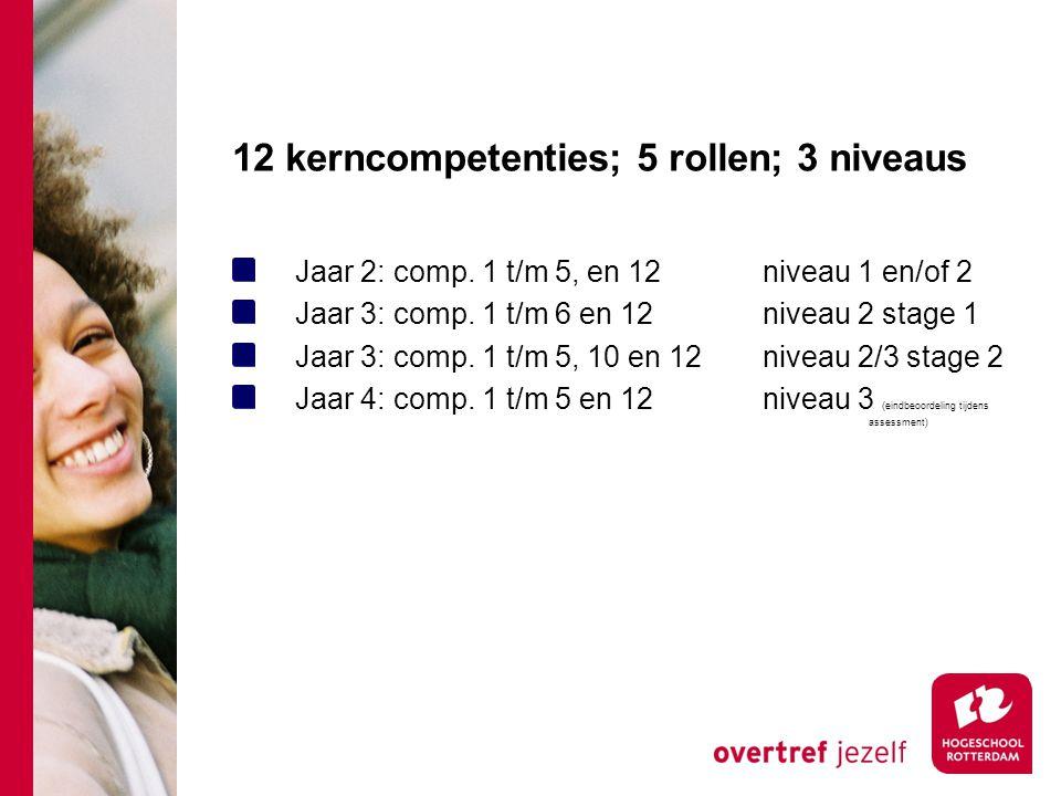 12 kerncompetenties; 5 rollen; 3 niveaus Jaar 2: comp.