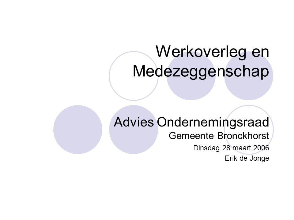 Werkoverleg en Medezeggenschap Advies Ondernemingsraad Gemeente Bronckhorst Dinsdag 28 maart 2006 Erik de Jonge