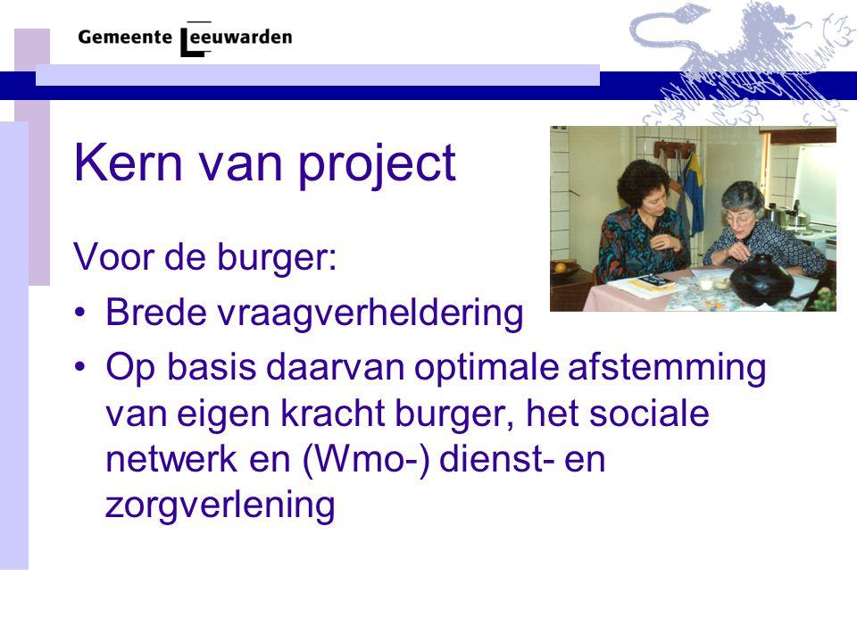 Kern van project Voor de burger: Brede vraagverheldering Op basis daarvan optimale afstemming van eigen kracht burger, het sociale netwerk en (Wmo-) dienst- en zorgverlening