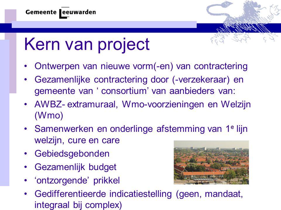 Kern van project Ontwerpen van nieuwe vorm(-en) van contractering Gezamenlijke contractering door (-verzekeraar) en gemeente van ' consortium' van aanbieders van: AWBZ- extramuraal, Wmo-voorzieningen en Welzijn (Wmo) Samenwerken en onderlinge afstemming van 1 e lijn welzijn, cure en care Gebiedsgebonden Gezamenlijk budget 'ontzorgende' prikkel Gedifferentieerde indicatiestelling (geen, mandaat, integraal bij complex)