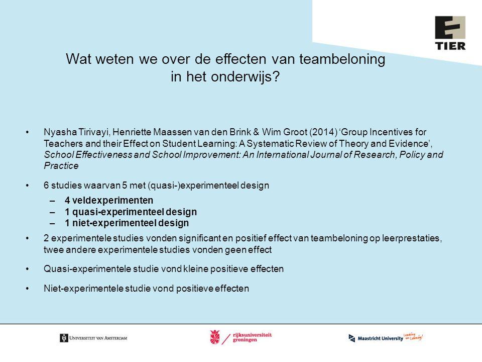 Wat weten we over de effecten van teambeloning in het onderwijs? Nyasha Tirivayi, Henriette Maassen van den Brink & Wim Groot (2014) 'Group Incentives