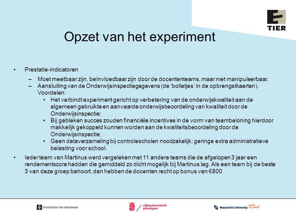 Opzet van het experiment Prestatie-indicatoren –Moet meetbaar zijn, beïnvloedbaar zijn door de docententeams, maar niet manipuleerbaar. –Aansluiting v
