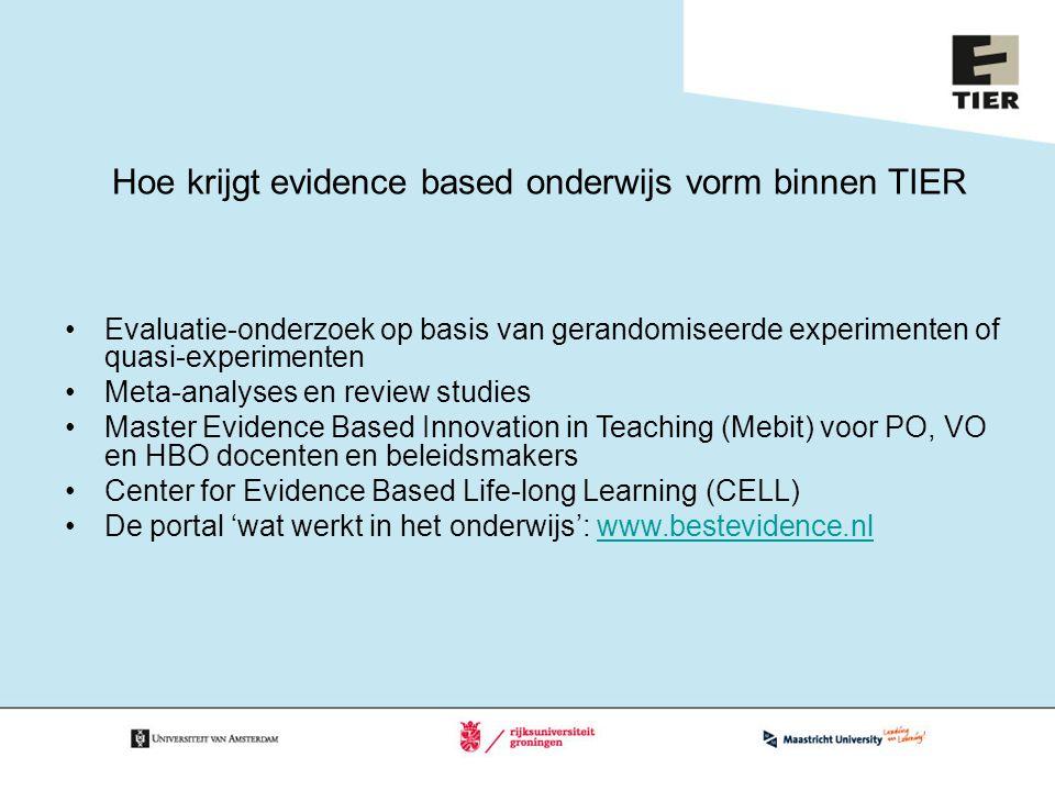 Hoe krijgt evidence based onderwijs vorm binnen TIER Evaluatie-onderzoek op basis van gerandomiseerde experimenten of quasi-experimenten Meta-analyses