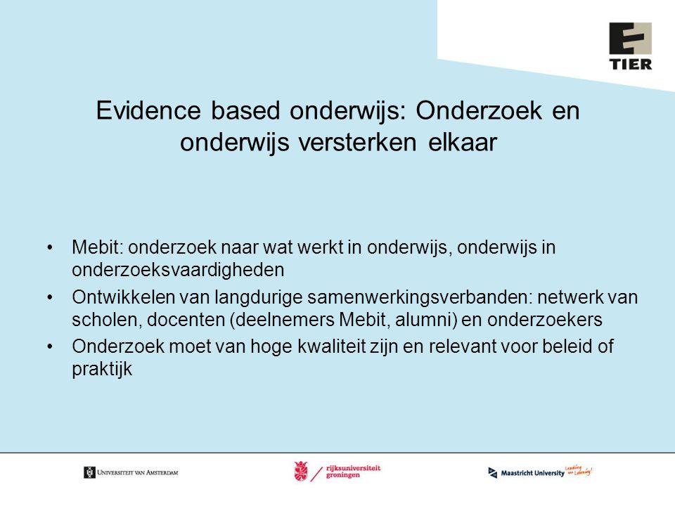 Evidence based onderwijs: Onderzoek en onderwijs versterken elkaar Mebit: onderzoek naar wat werkt in onderwijs, onderwijs in onderzoeksvaardigheden O
