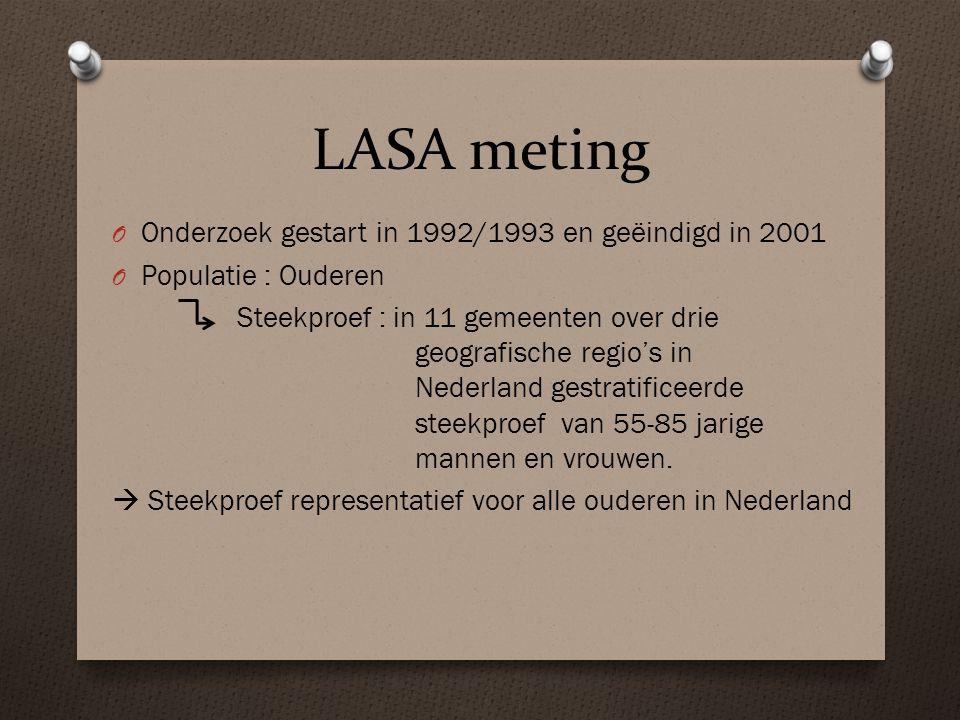 LASA meting O Onderzoek gestart in 1992/1993 en geëindigd in 2001 O Populatie : Ouderen Steekproef : in 11 gemeenten over drie geografische regio's in Nederland gestratificeerde steekproef van 55-85 jarige mannen en vrouwen.