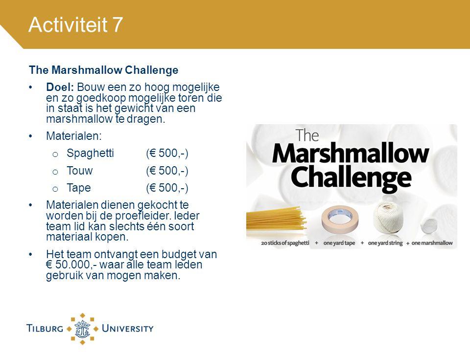 The Marshmallow Challenge Doel: Bouw een zo hoog mogelijke en zo goedkoop mogelijke toren die in staat is het gewicht van een marshmallow te dragen. M