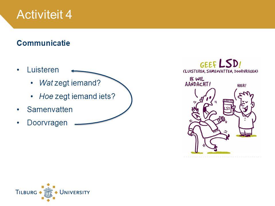 Communicatie Luisteren Wat zegt iemand? Hoe zegt iemand iets? Samenvatten Doorvragen Activiteit 4