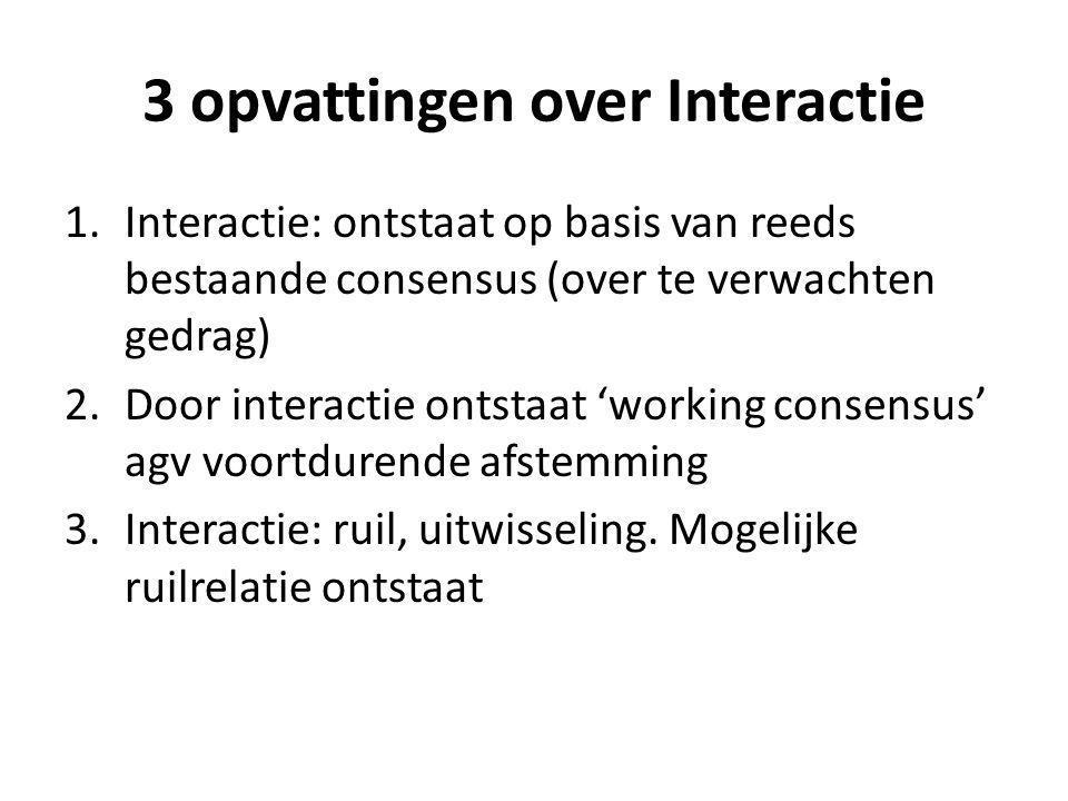 3 opvattingen over Interactie 1.Interactie: ontstaat op basis van reeds bestaande consensus (over te verwachten gedrag) 2.Door interactie ontstaat 'wo