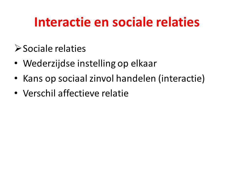 Interactie en sociale relaties  Sociale relaties Wederzijdse instelling op elkaar Kans op sociaal zinvol handelen (interactie) Verschil affectieve re
