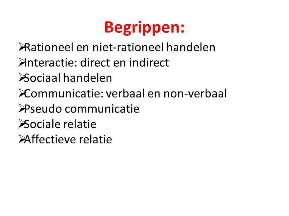 Begrippen:  Rationeel en niet-rationeel handelen  Interactie: direct en indirect  Sociaal handelen  Communicatie: verbaal en non-verbaal  Pseudo