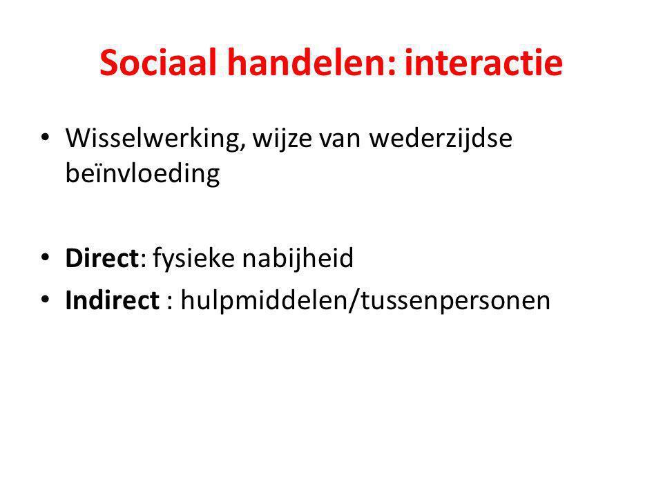 Sociaal handelen: interactie Wisselwerking, wijze van wederzijdse beïnvloeding Direct: fysieke nabijheid Indirect : hulpmiddelen/tussenpersonen