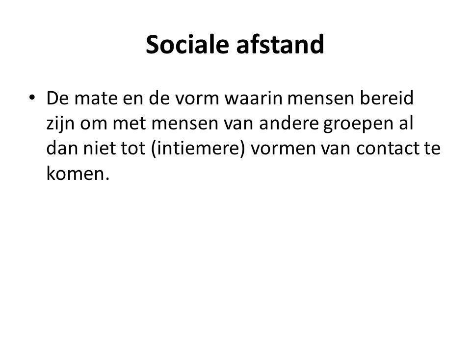 Sociale afstand De mate en de vorm waarin mensen bereid zijn om met mensen van andere groepen al dan niet tot (intiemere) vormen van contact te komen.