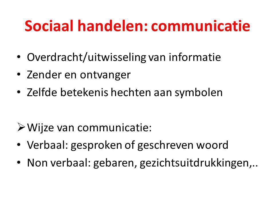 Sociaal handelen: communicatie Overdracht/uitwisseling van informatie Zender en ontvanger Zelfde betekenis hechten aan symbolen  Wijze van communicat