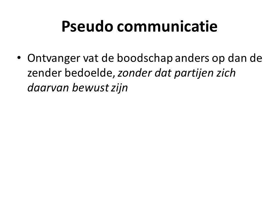 Pseudo communicatie Ontvanger vat de boodschap anders op dan de zender bedoelde, zonder dat partijen zich daarvan bewust zijn