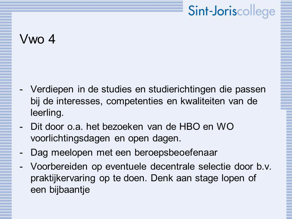 Vwo 4 -Verdiepen in de studies en studierichtingen die passen bij de interesses, competenties en kwaliteiten van de leerling.