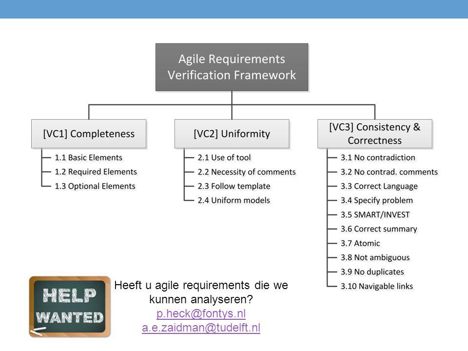 Heeft u agile requirements die we kunnen analyseren? p.heck@fontys.nl a.e.zaidman@tudelft.nl