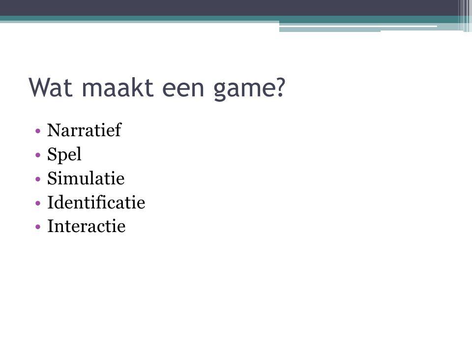 Wat maakt een game? Narratief Spel Simulatie Identificatie Interactie
