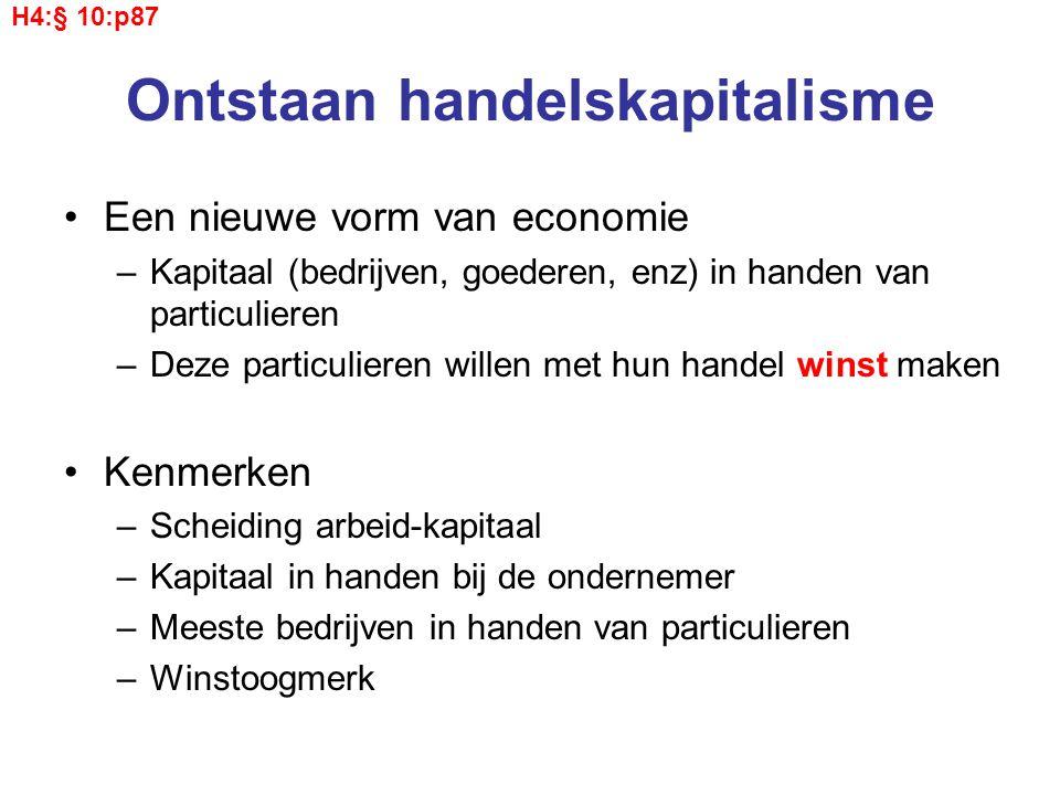 Ontstaan handelskapitalisme Een nieuwe vorm van economie –Kapitaal (bedrijven, goederen, enz) in handen van particulieren –Deze particulieren willen m
