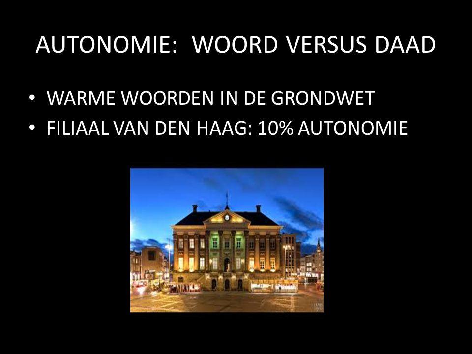 AUTONOMIE: WOORD VERSUS DAAD WARME WOORDEN IN DE GRONDWET FILIAAL VAN DEN HAAG: 10% AUTONOMIE