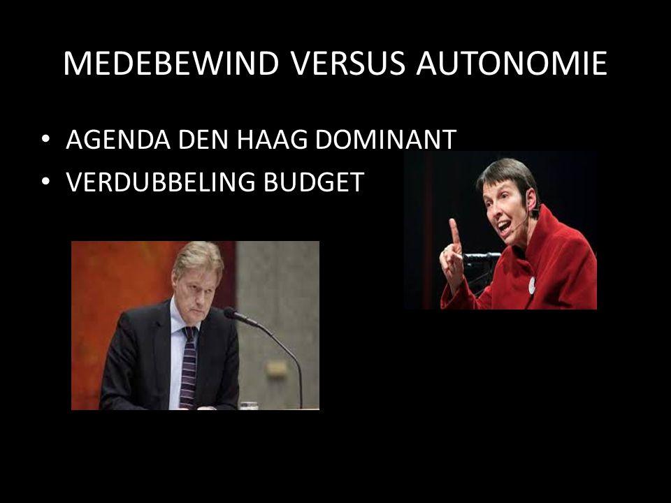 MEDEBEWIND VERSUS AUTONOMIE AGENDA DEN HAAG DOMINANT VERDUBBELING BUDGET