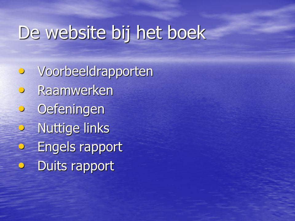 De website bij het boek Voorbeeldrapporten Voorbeeldrapporten Raamwerken Raamwerken Oefeningen Oefeningen Nuttige links Nuttige links Engels rapport Engels rapport Duits rapport Duits rapport