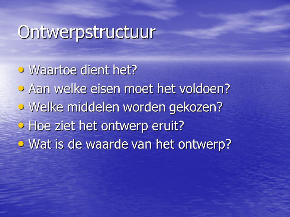 Ontwerpstructuur Waartoe dient het? Waartoe dient het? Aan welke eisen moet het voldoen? Aan welke eisen moet het voldoen? Welke middelen worden gekoz