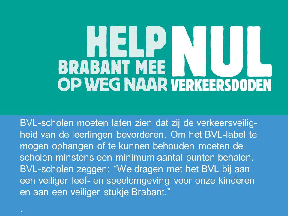 BVL-scholen moeten laten zien dat zij de verkeersveilig- heid van de leerlingen bevorderen. Om het BVL-label te mogen ophangen of te kunnen behouden m