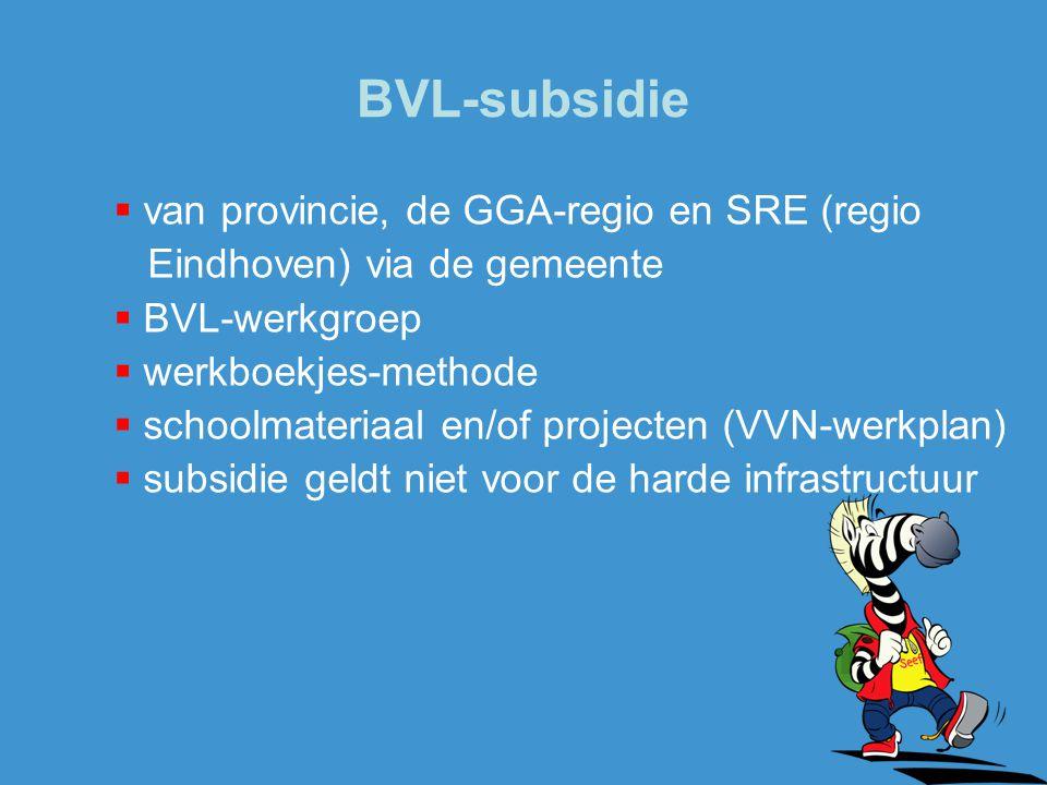 BVL-subsidie  van provincie, de GGA-regio en SRE (regio Eindhoven) via de gemeente  BVL-werkgroep  werkboekjes-methode  schoolmateriaal en/of proj