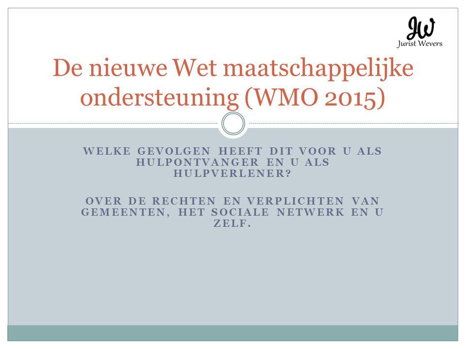 De te bespreken onderwerpen Korte introductie over de WMO 2015 Wat gebeurt er met uw indicatie.
