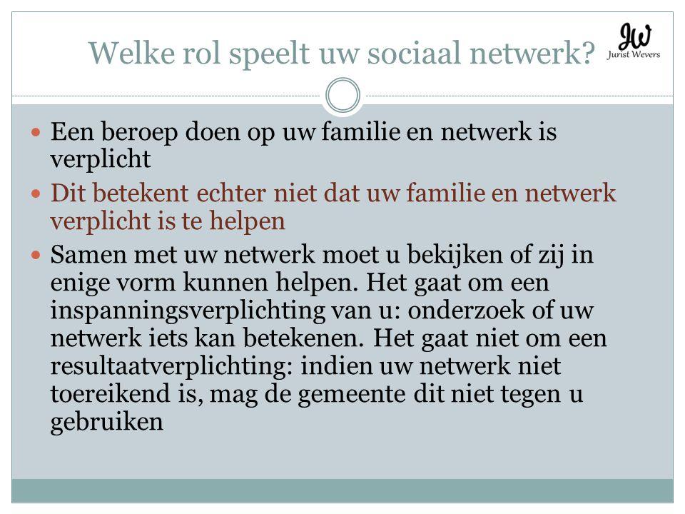 Welke rol speelt uw sociaal netwerk? Een beroep doen op uw familie en netwerk is verplicht Dit betekent echter niet dat uw familie en netwerk verplich