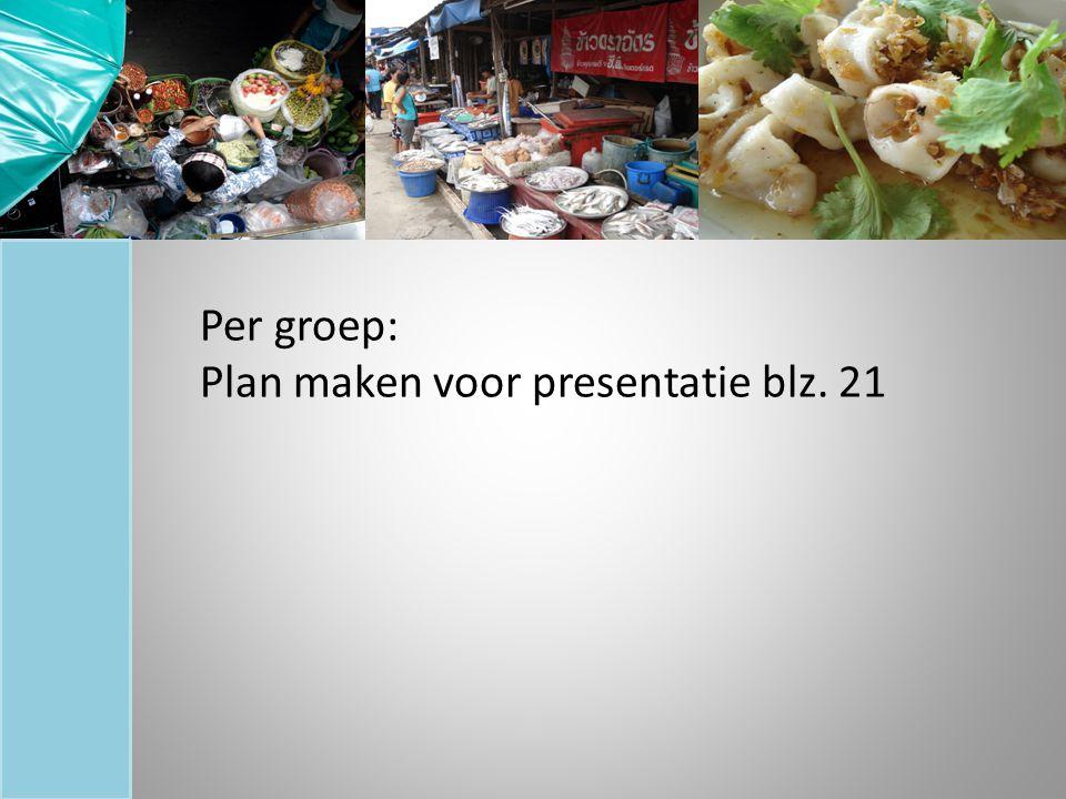 Per groep: Plan maken voor presentatie blz. 21